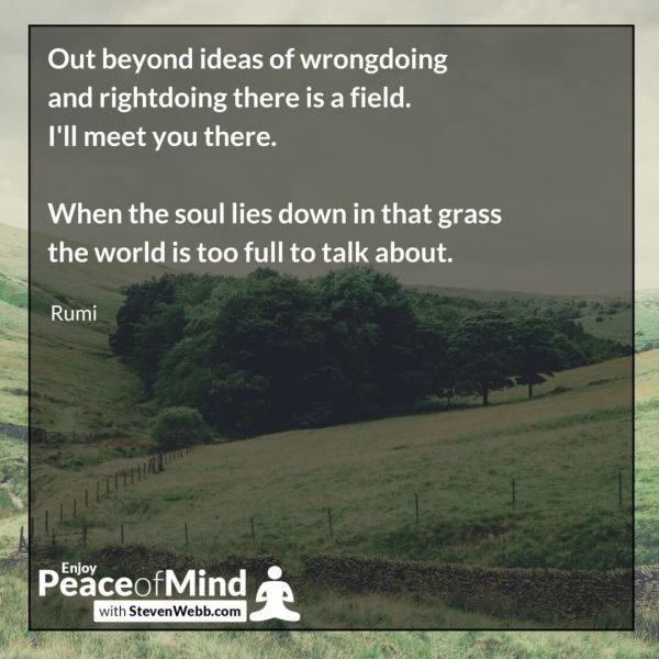 Peace of mind quote - out to beyond ideas of wrong doing and right doing there is a field... Rumi