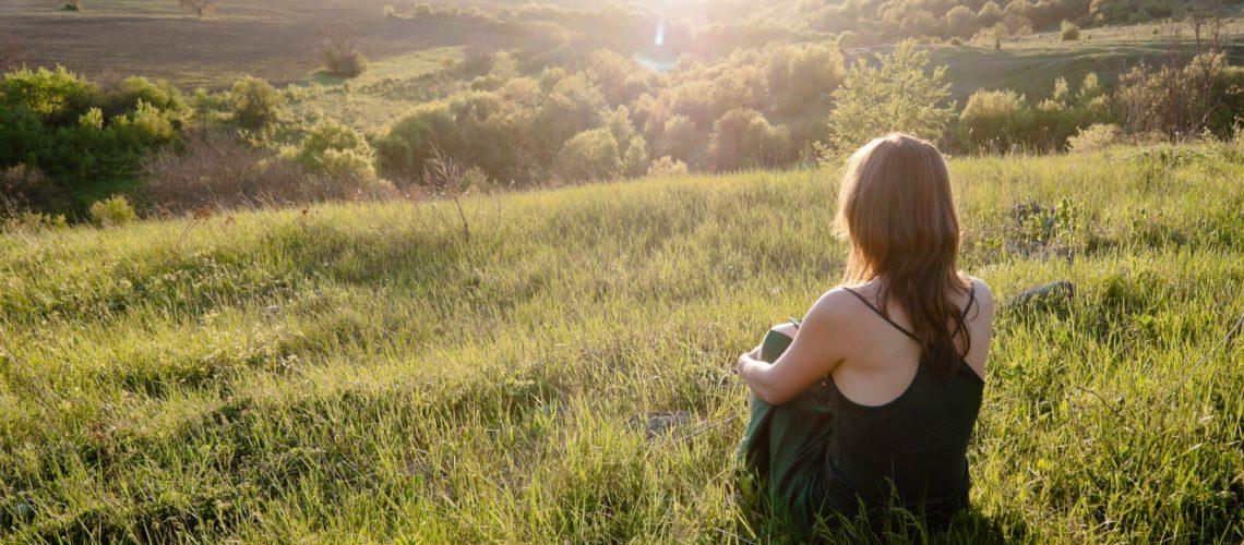 Beautiful girl being mindful